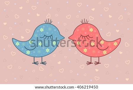 Vector illustration of two birds on background with hearts