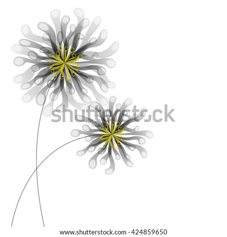 vector illustration of two black flowers  - stock vector