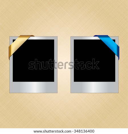 Vector illustration of two blank retro polaroid photo - stock vector