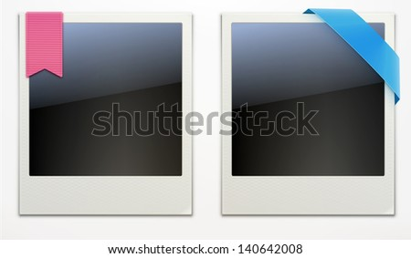 Vector illustration of two blank retro polaroid photo frames over white background - stock vector