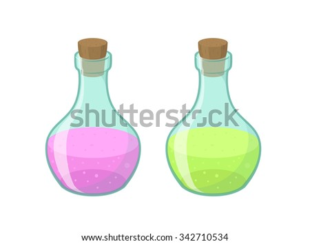 Vector illustration of two bottles in cartoon style, eps10  - stock vector