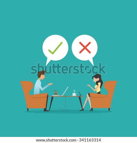 vector illustration of  two business man talking, right or wrong,Yes or No ,at the coffee shop,meeting,couple,bubble