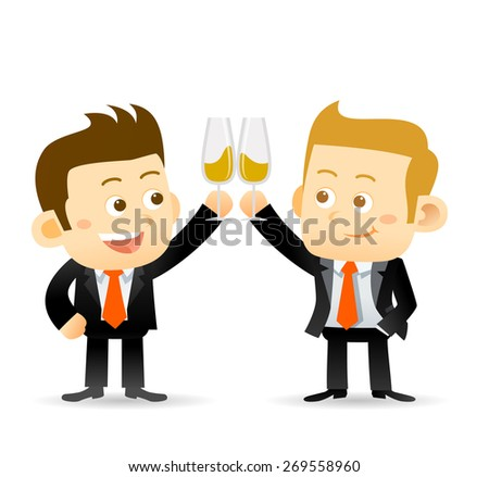 Vector illustration of two businessman clink glasses of champagne to celebrate a success partnership or special event - stock vector