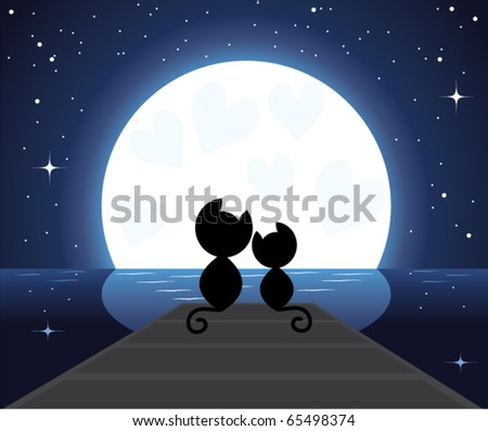 vector illustration of two cats in love sitting on the bridge watching on the moon - stock vector