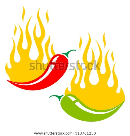 Vector illustration of two chili peppers in fire - stock vector