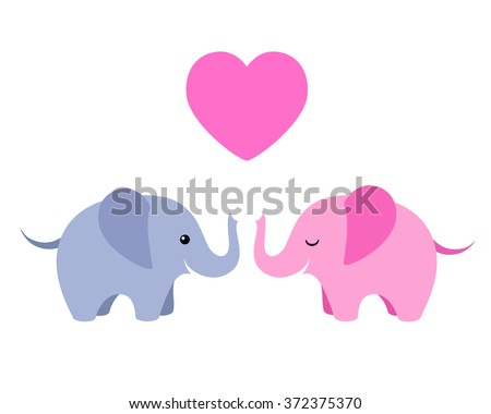 Vector illustration of two cute elephants with heart isolated on white background