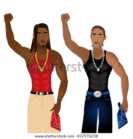 Vector Illustration of two gangs standing in unity in a nonviolent protest for justice.