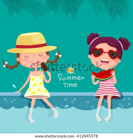 Vector illustration of two girls eating ice cream and watermelon at the pool - stock vector