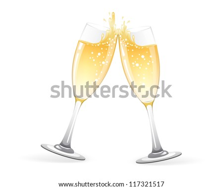 Vector illustration of Two Glasses of champagne