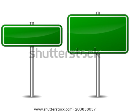 Vector illustration of two green blank road sign