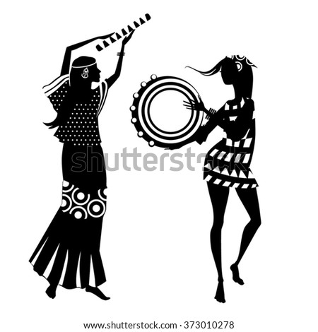 vector illustration of two hippie girls, silhouette - stock vector