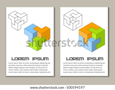 Vector illustration of two impossible design elements