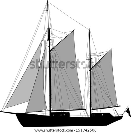 Vector illustration of two masted sailing ship ketch - stock vector