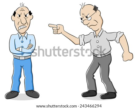 vector illustration of two men are of different opinion - stock vector
