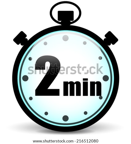 Vector illustration of two minutes stopwatch icon on white background - stock vector