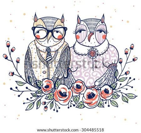 vector illustration of two owls with a floral wreath - stock vector