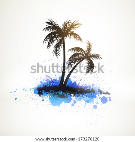Vector Illustration of Two Palm Trees - stock vector