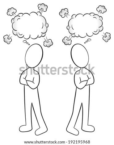 vector illustration of two people are of different opinion - stock vector