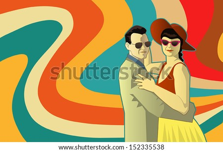 Vector illustration of two people dancing in retro outfit and retro colors background waves - stock vector