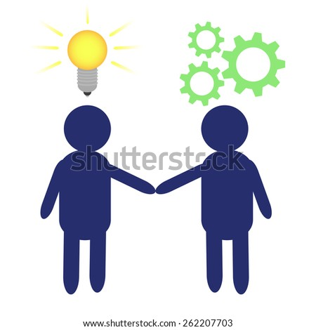 Vector Illustration of two people depicting the transfer of an idea into work