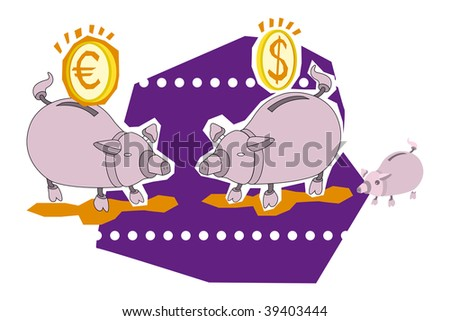 Vector illustration of two piggy bank and coins - stock vector