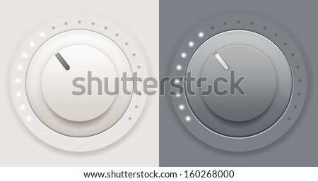 Vector illustration of two plastic volume knob