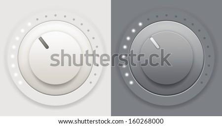 Vector illustration of two plastic volume knob - stock vector