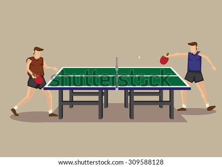 Vector illustration of two players playing table tennis game at green table tennis table in side view isolated on neutral background. - stock vector