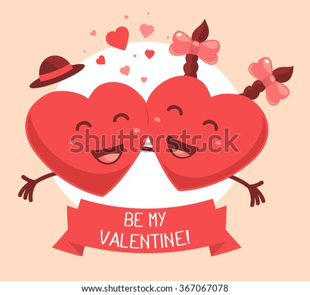 Vector illustration of two red smiling hearts with ribbon and text on pink background. Art design for Valentine's Day greetings and card, web, banner, poster, flyer, brochure, print.   - stock vector