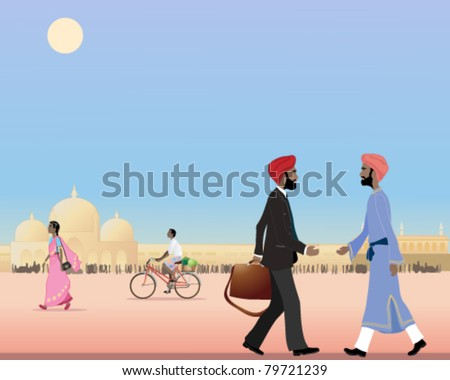 vector illustration of two sikh men meeting in a city street in india in eps 10 format - stock vector