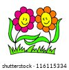 vector illustration of two smiling flowers holding hands - stock vector