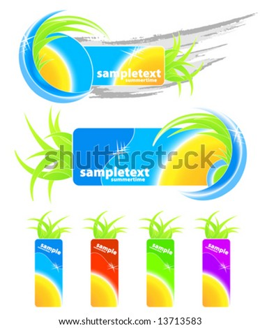 Vector illustration of two summer seasonal design elements, grunge and floral, and four retail happy summertime tags with sun. - stock vector