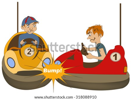 Vector illustration of two teenage bumper car drivers bumping each other. - stock vector