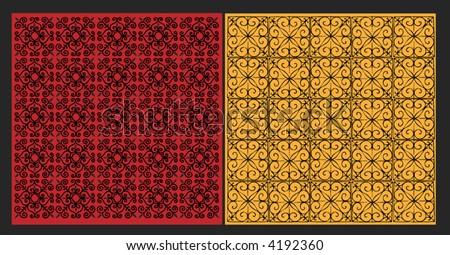 vector illustration of two wallpaper designs - stock vector