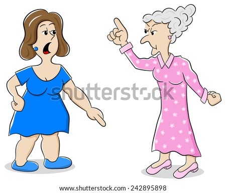 vector illustration of two women are of different opinion - stock vector