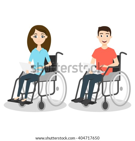 Vector illustration of two young man and woman in wheelchair holding laptops.