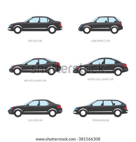 Vector illustration of types of cars: Mid-size, Subcompact, Mid-size luxury, Entry-level luxury, Full-size, Station wagon. Variants of car body. Black color.