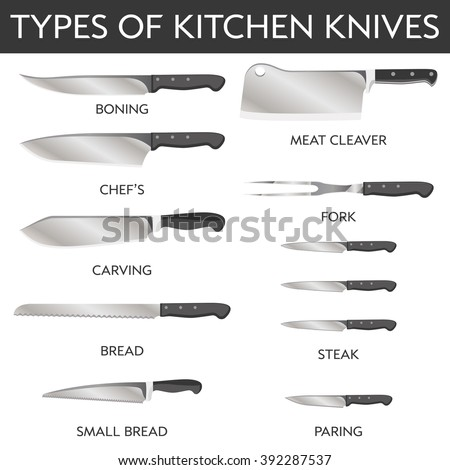 stock vector vector illustration of types of kitchen knives chef s meat cleaver small bread carving 392287537 - Beautiful Wooden Handle Paring Knives