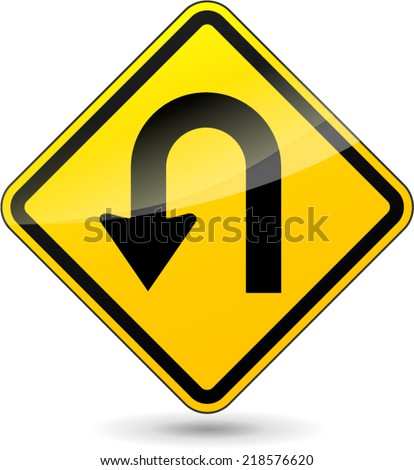 Vector illustration of u-turn yellow sign on white background - stock vector