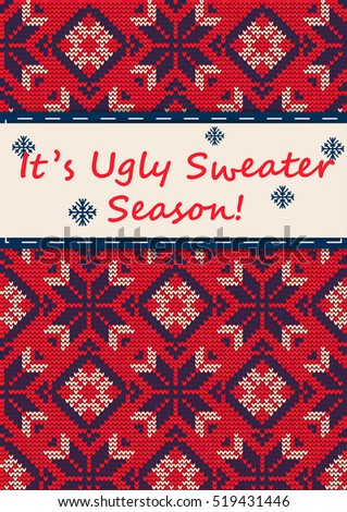 Vector Illustration Ugly Sweater Party Greeting Stock Vector - Ugly sweater flyer template free