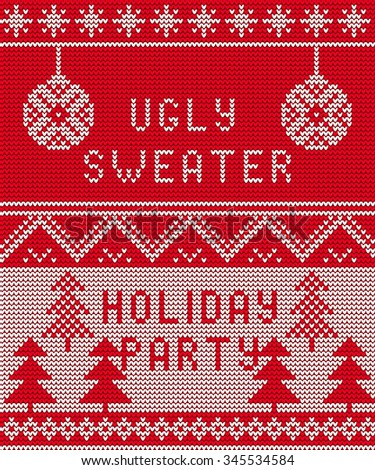 Vector Illustration of Ugly sweater party seamless Pattern for Design, Website, Background, Banner. Merry christmas Knitted Retro cloth with Snowflake Element Template - stock vector