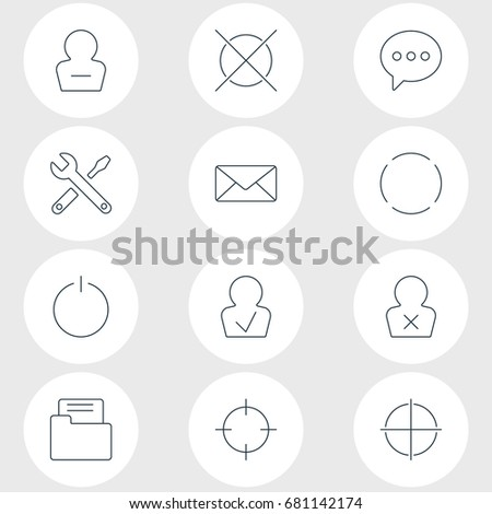 Vector Illustration Of 12 UI Icons. Editable Pack Of Screen Capture, Approved Profile, Dossier And Other Elements.