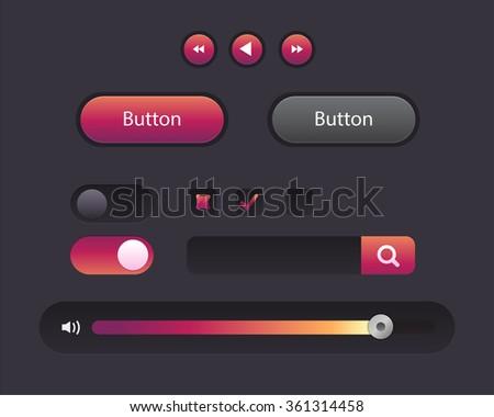 Vector Illustration of UI kit. Active button, non-activ button, check button, slider, search area - stock vector