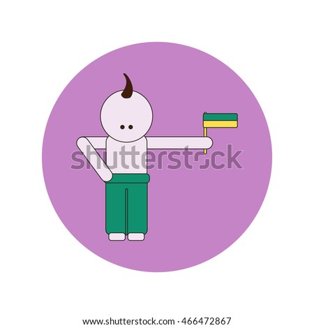 Vector illustration of Ukrainian Independence Day in flat style cossack holding flag of ukraine
