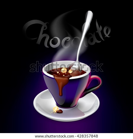 Vector illustration of ultraviolet and white inside coffee cup on a white saucer filled with hot chocolate and nuts. Perfect for pack, print design, poster, menu, web banner, advertising and more