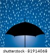 vector illustration of umbrella protection from rain drops - stock photo