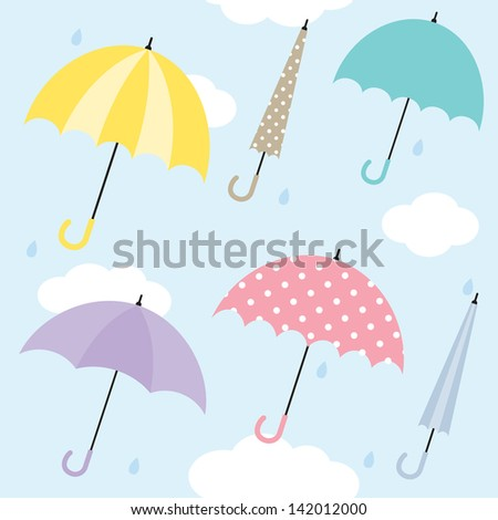 Vector illustration of umbrellas. Also works as seamless pattern. - stock vector