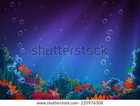Vector illustration of underwater cave for your backdrop - stock vector