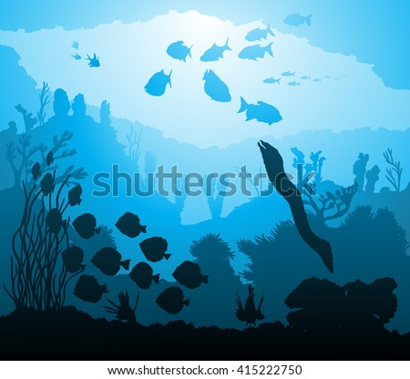 Vector illustration of underwater world with marine life - stock vector