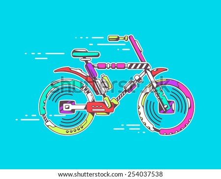 Vector illustration of unique mountain bicycle moving fast on bright blue background leaving trace. Color line art design for web, site, advertising, banner, poster, board and print. - stock vector